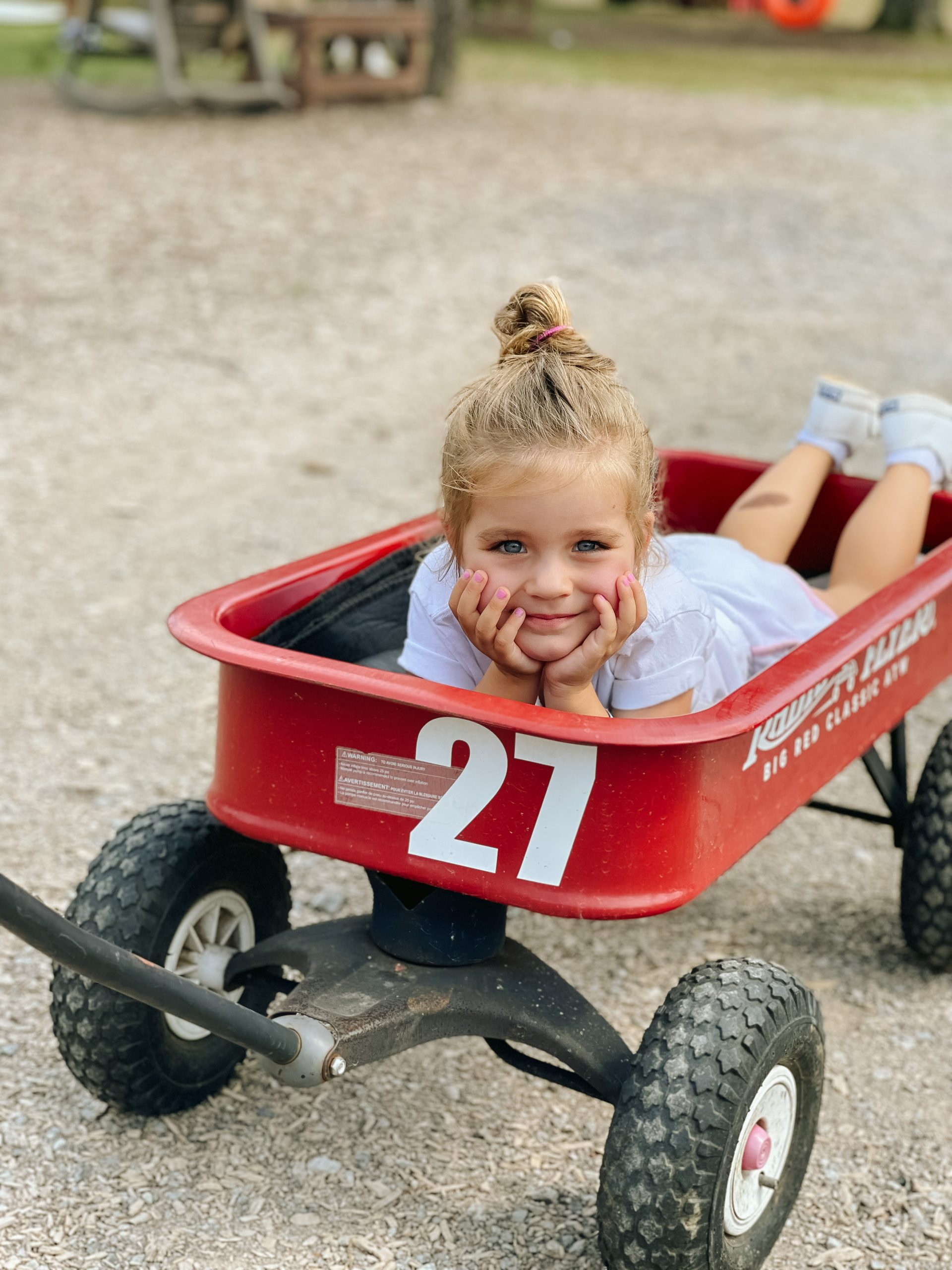 Lucky Ladd Farms little red wagon toddler MacKenlee angela lanter