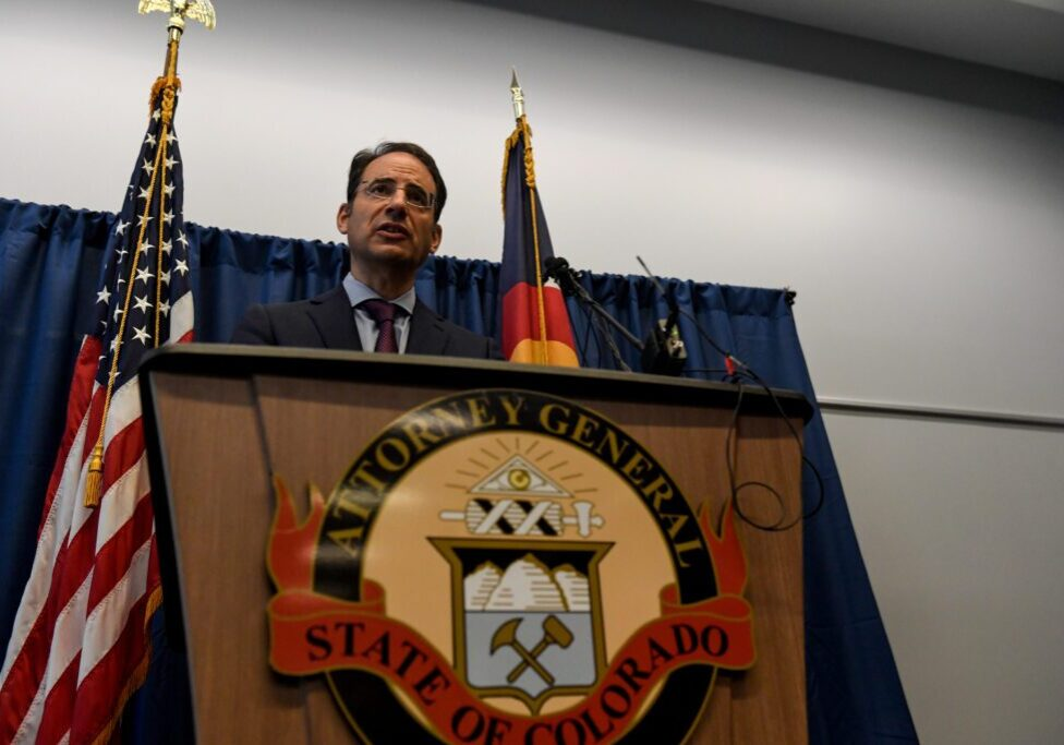 DENVER , CO - SEPTEMBER 1: Colorado attorney general Phil Weiser speaks during a press conference announcing an indictment of the three Aurora police officers and two Aurora fire paramedics in the death of Elijah McClain on Wednesdsay, September 1, 2021. Weiser announced that the three officers, Nathan Woodyard, Jason Rosenblatt and Randy Roedema, and two paramedics, Jeremy Cooper and Peter Cichuniec, were indicted on 32 total charges, which include, but are not limited to manslaughter, criminally negligent homicide and assault with intent to cause bodily harm. On August 24, 2019, McClain was walking near his home in Aurora when officers responded to reports of a non-violent person wearing a ski mask. McClain, who was wearing headphones, was forcefully detained by the officers. The officers held McClain on the ground as he struggled to breathe, while pleading with the men holding him. When paramedics arrived, they administered ketamine to McClain. The 23-year-old left the site in cardiac arrest and on August 30, he died, while on life support in the hospital. (Photo by AAron Ontiveroz/The Denver Post)