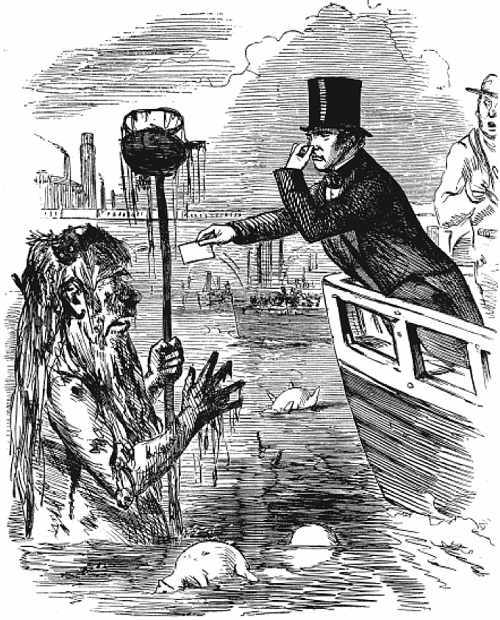 Michael Faraday and 'Old Father Thames' - Punch cartoon illustration from 1855 - from Thames Water