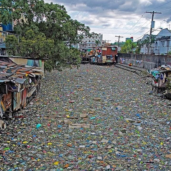Heavily polluted river of Indonesia