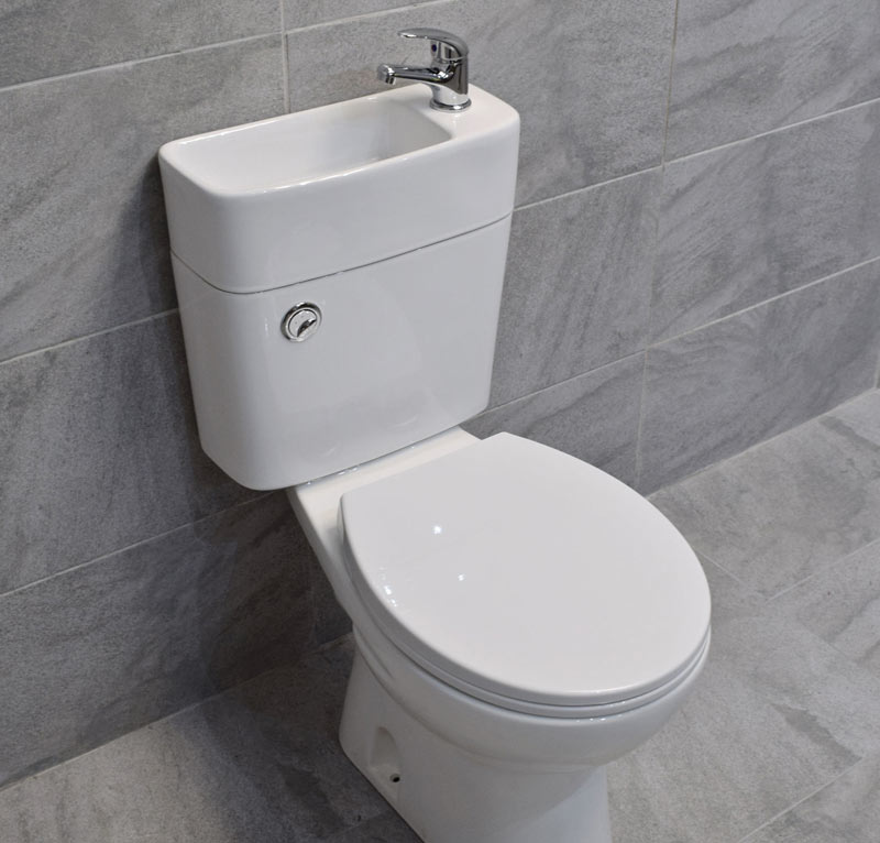 In water saving seats, gray-water is used again to flush