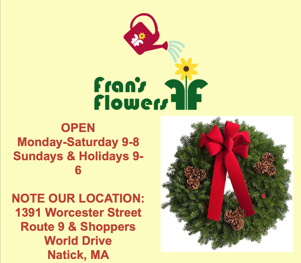 Wreath and Candle Sale- Fran's Flowers