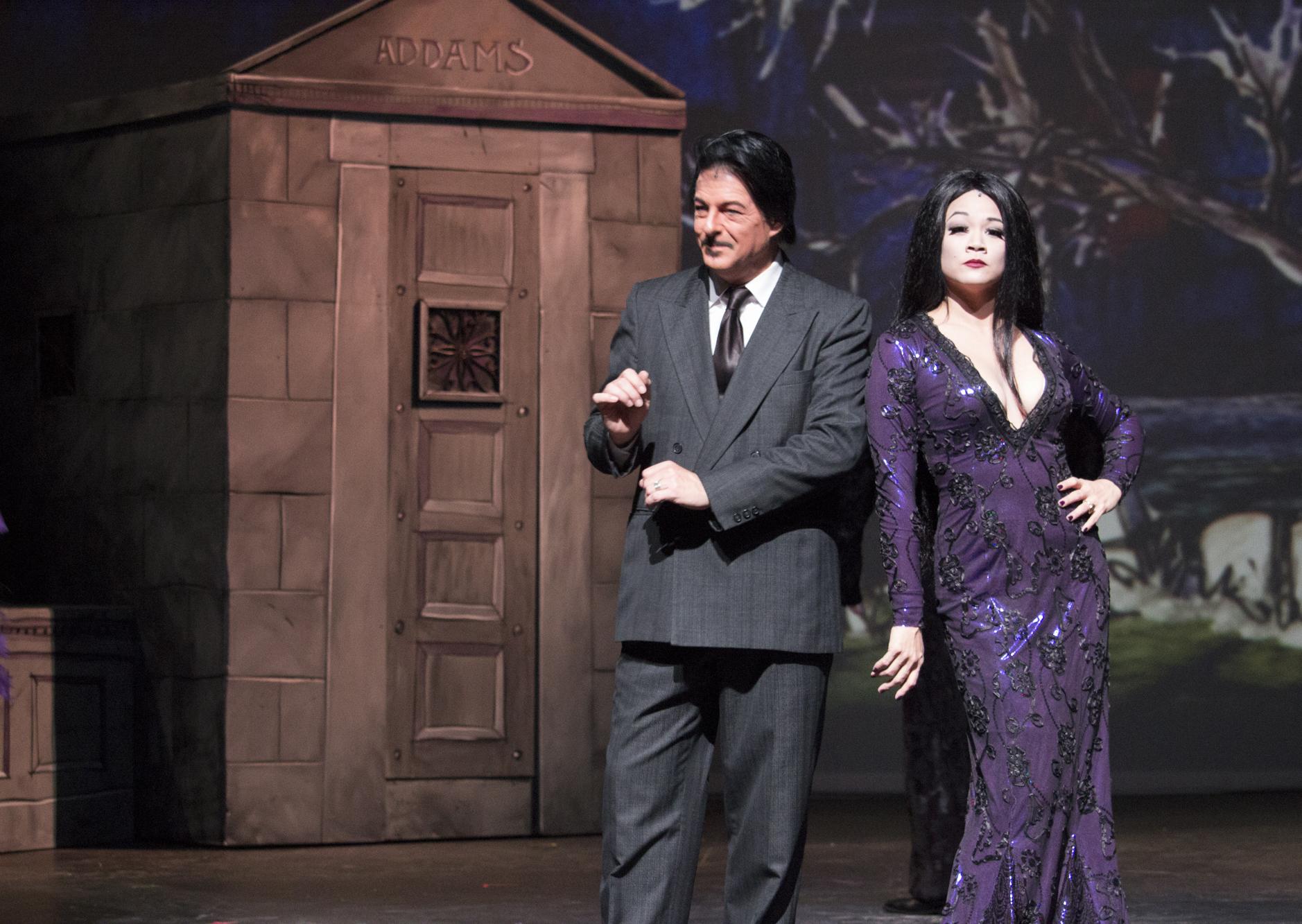 MainStage Irving Las Colinas_The Addams Family_Michael Robinson as Gomez Addams_Olivia de Guzman Emile as Morticia Addams_Photo by Travis J. Fant