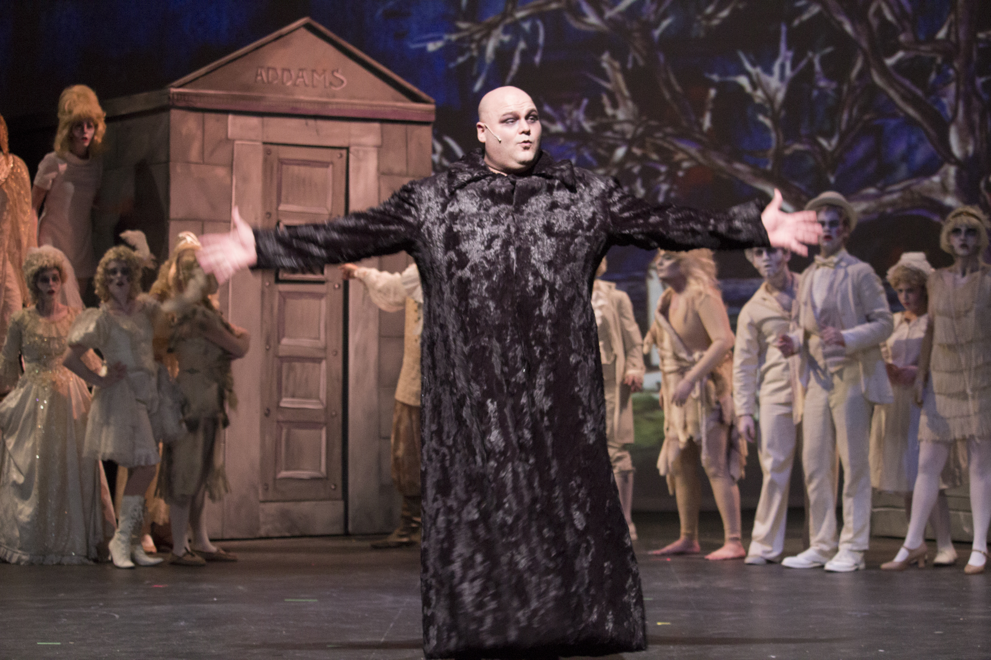 MainStage Irving-Las Colinas_The Addams Family_Stephen Bates as Uncle Fester with Uncle Fester_Photo by Travis J. Fant