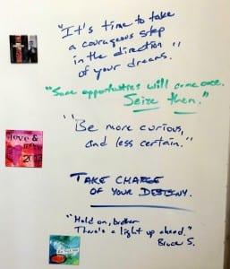 whiteboard in my kitchen july 2014