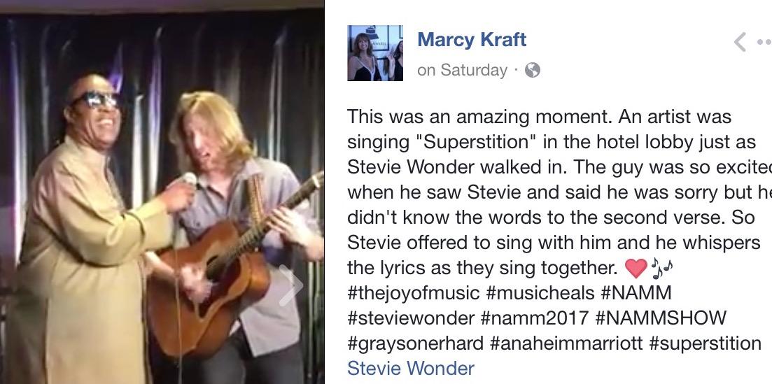 Marcy Kraft Stevie Wonder Hotel Facebook California Rocker