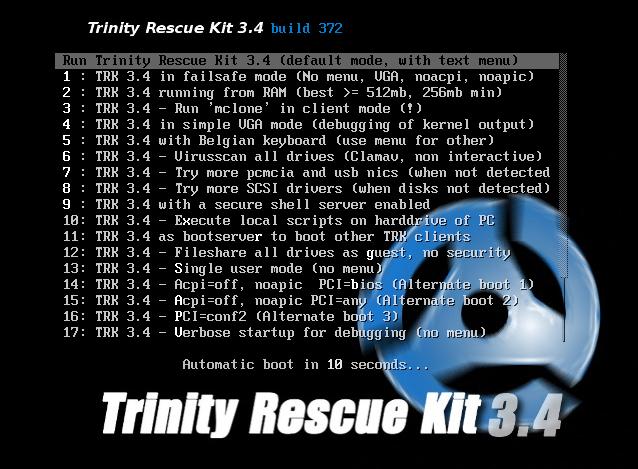 Trinity Rescue Kit - Windows Password Resetting