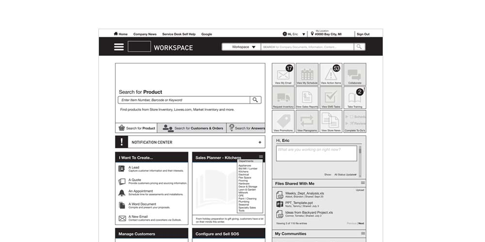 Store Employee Experience Wireframe