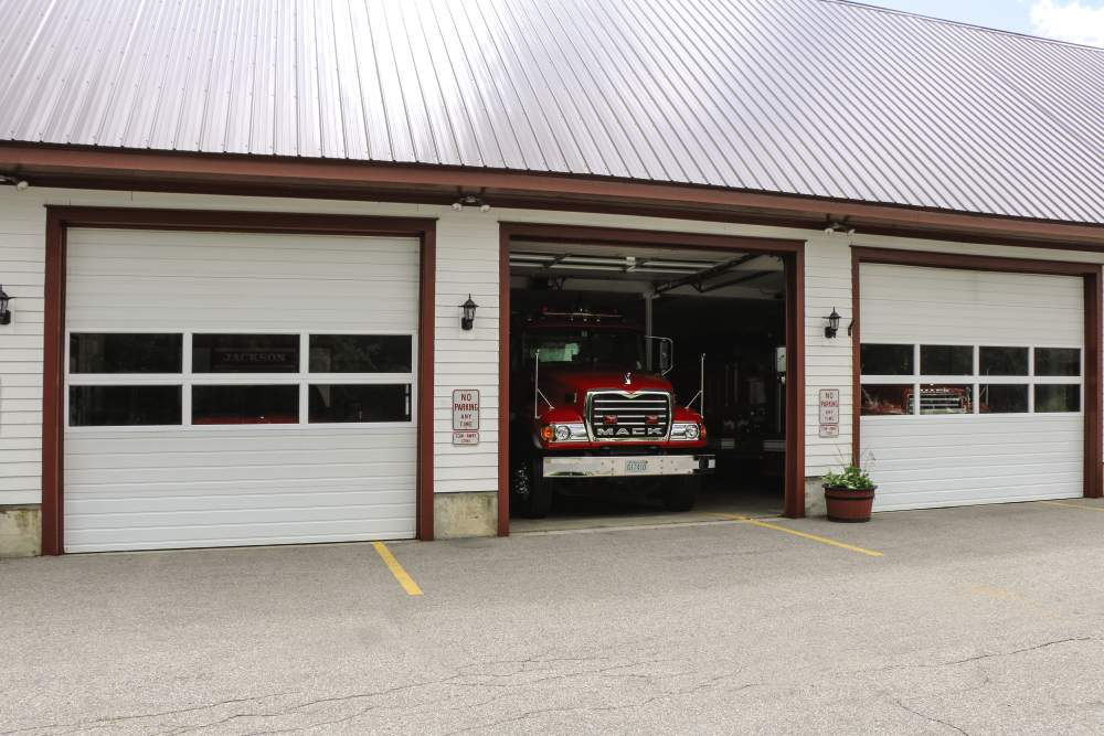 sectional steel doors on fire station