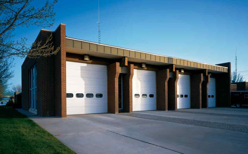 sectional steel overhead doors on fire station