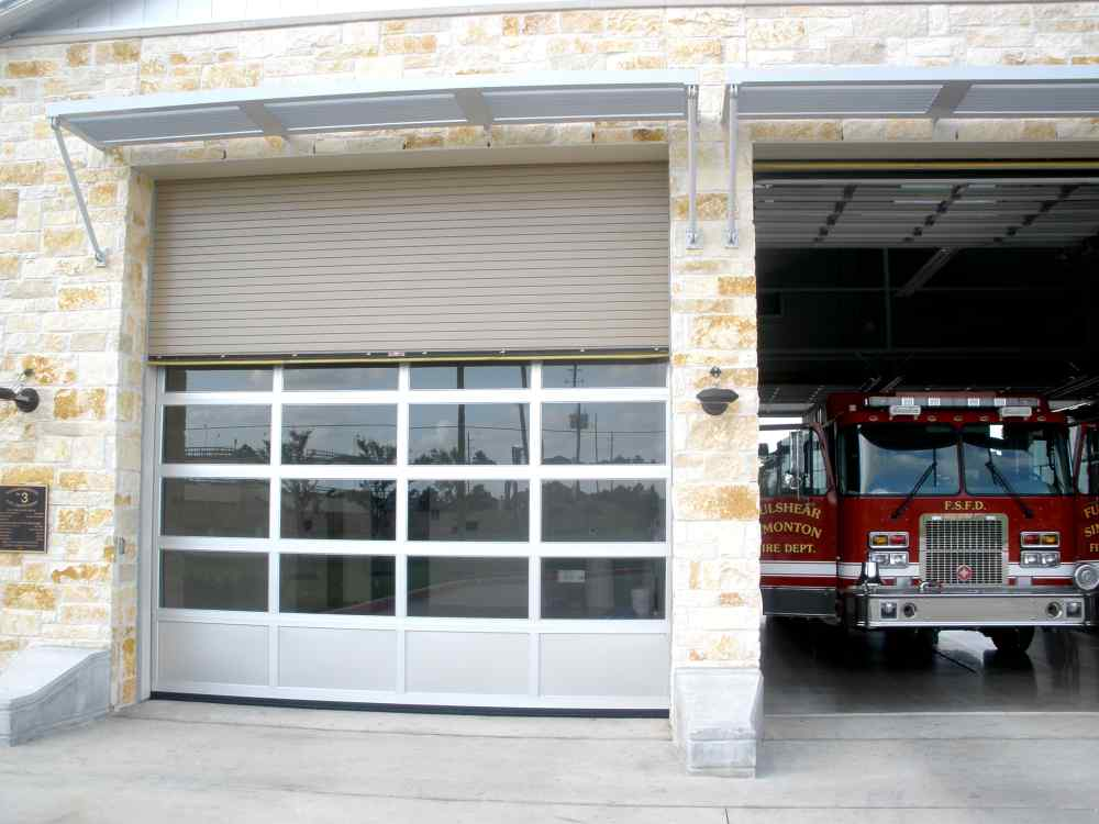 glass with steel fire station doors