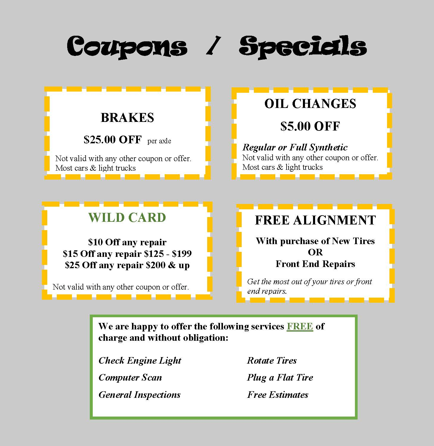 Coupons for Web 5