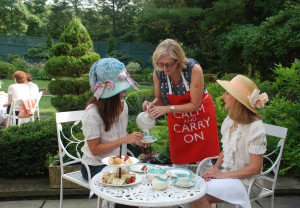 Denise serving absolutely fabulous afternoon tea to Marianne and Allie at the Darien Community Association