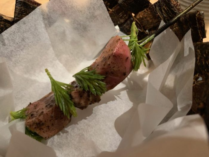 Reindeer tongue with chilli sauce and pine