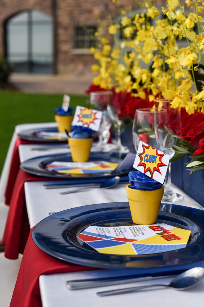 super hero wedding table setting
