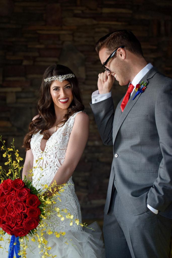super hero bride and groom