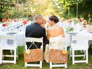 Sweetheart table for bride and groom