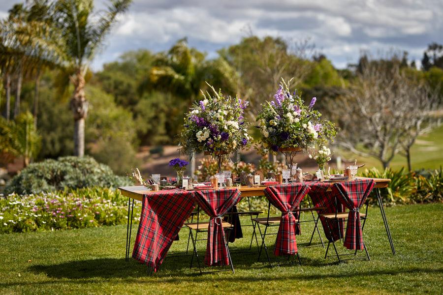 scottish wedding tablescape, tartan linen, garden flowers, scottish centerpiece, thistles