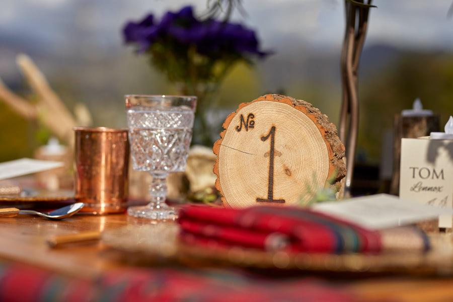 wood table number, tartan linen