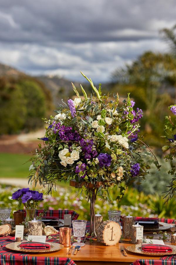 scottish wedding, wedding centerpiece, purplr flowers,