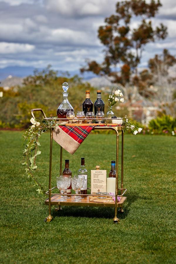 scottiah wedding, bar cart, custom wood menuu, thistle