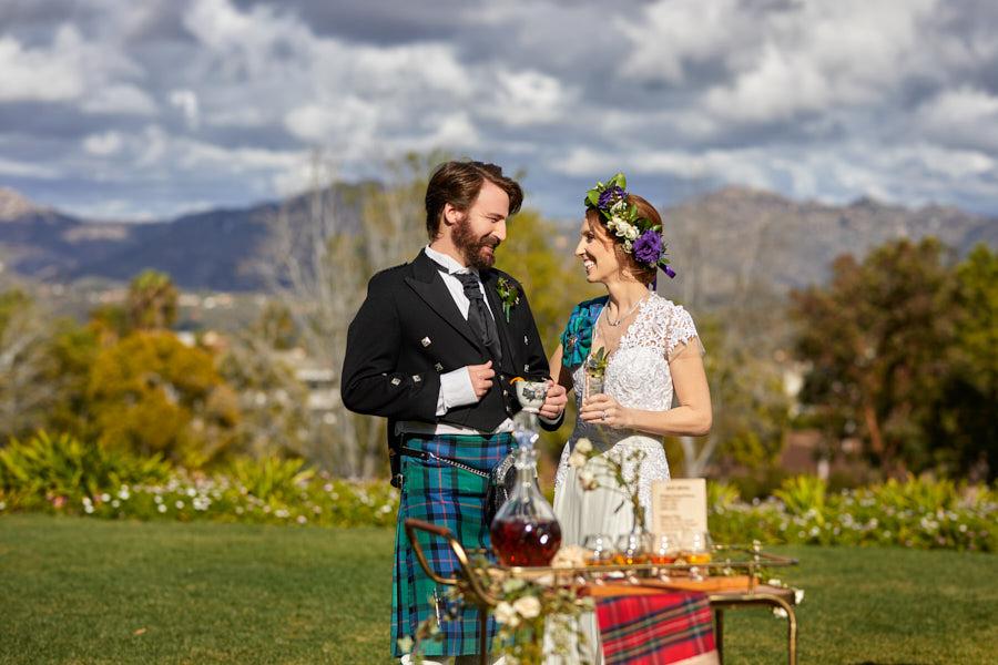 scottish wedding, bride and groom, cheers, celtic