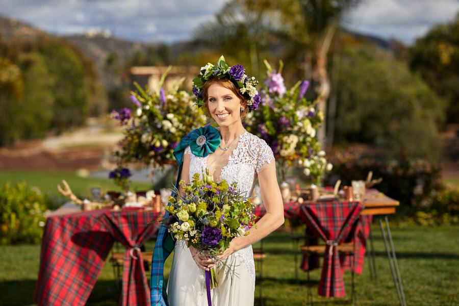 scottish bride, wedding bouquetm celtic