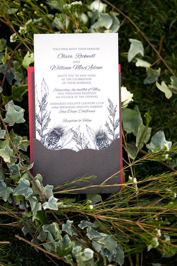 scottish wedding invitation, thistle on invitation