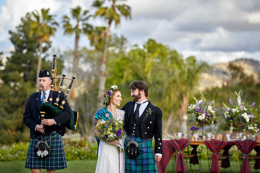 scottish wedding, bag pipes, scottish tartan