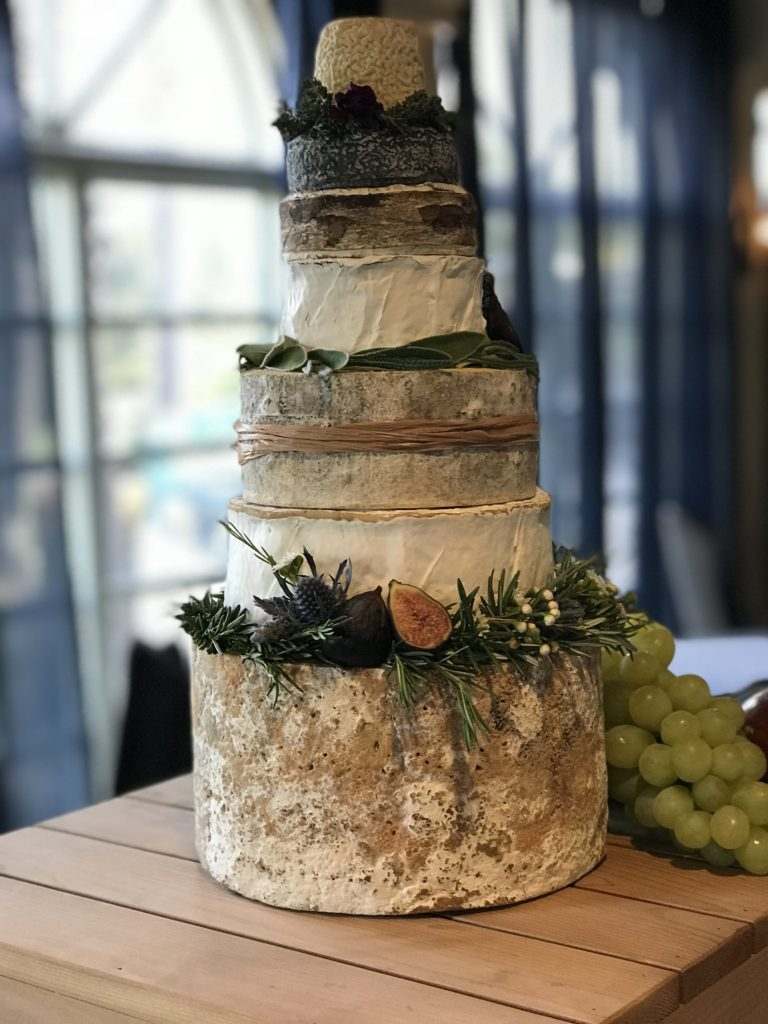 cake made of wheels of cheese, cheese cake, celtic toasting flutes