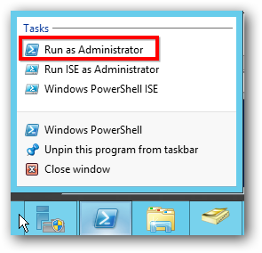 Server 2012 Run as Administrator PowerShell