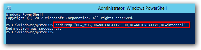 Server 2012 redircmp change default OU