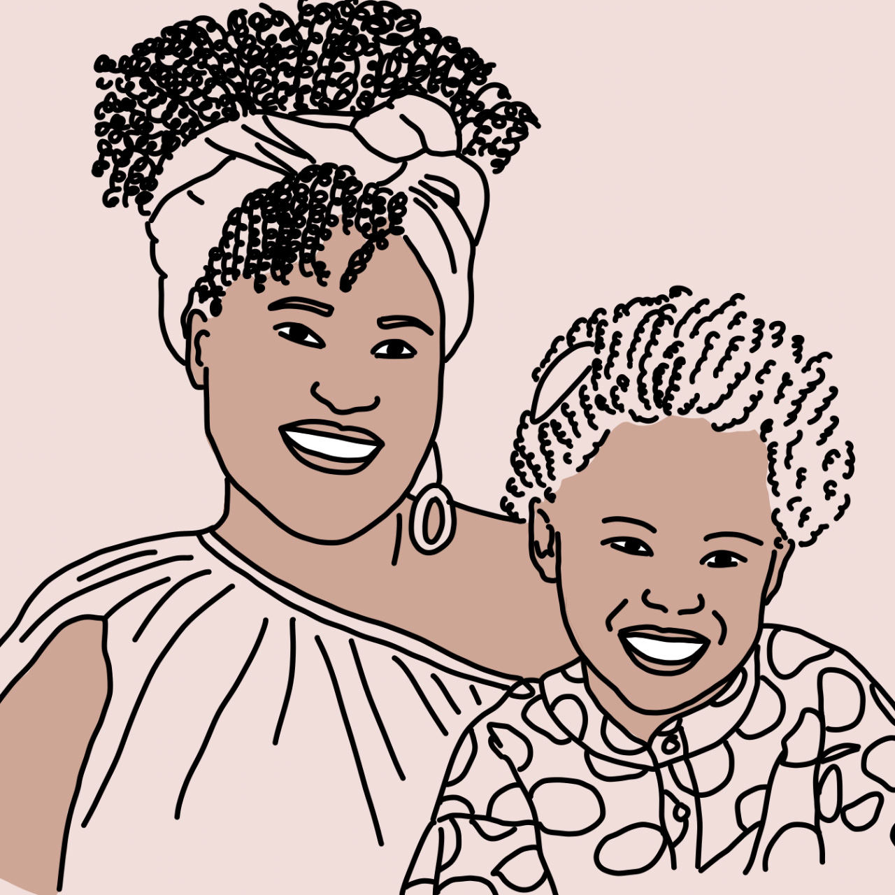 Illustration of Candice Cox and daughter