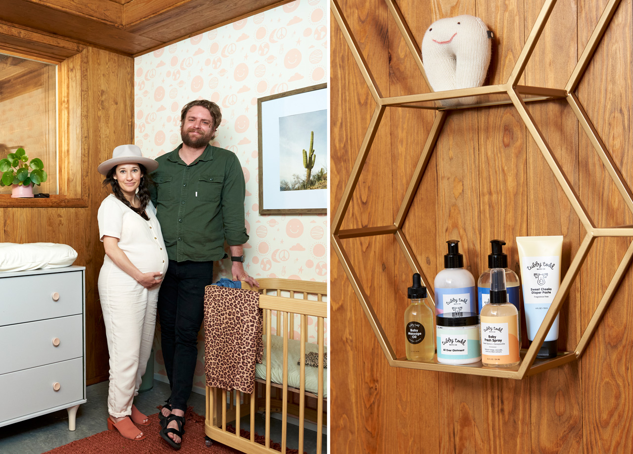 Tubby Todd Art Director Becky Simpson and her husband in their new nursery