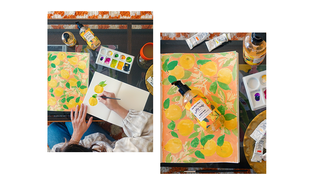 Leah Goren at work on some illustrations