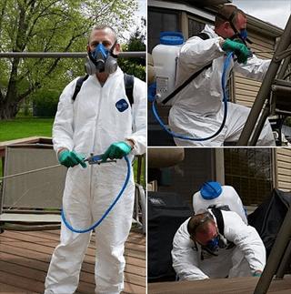 Terminators Pest Control Exterminator staff in full extermination gear