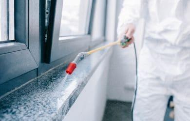 pest control tech spraying around windows in philly