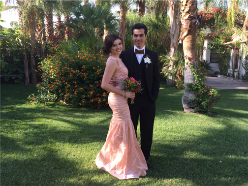 bride in long pink gown