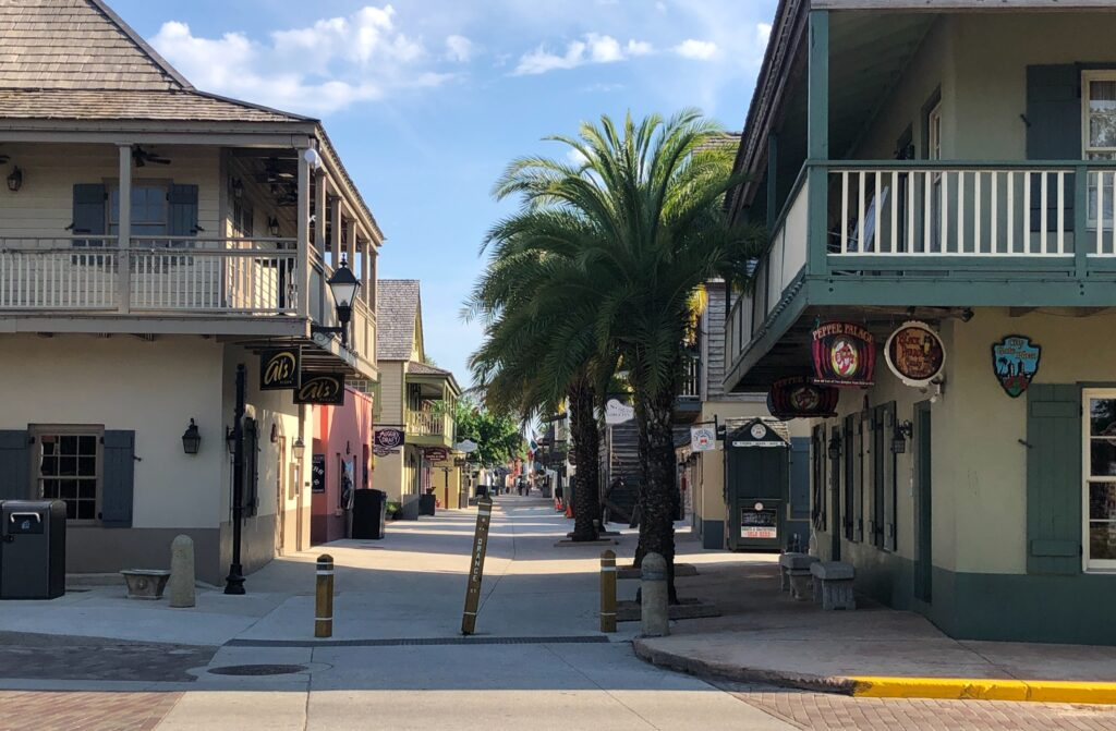 Empty street in Old Town St. Augustine