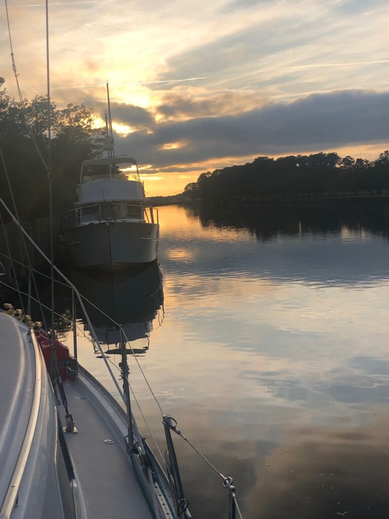 Two boats at sunset
