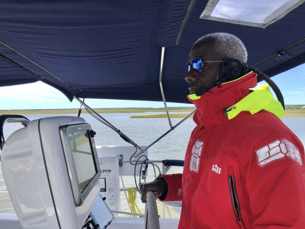 Allan at the helm