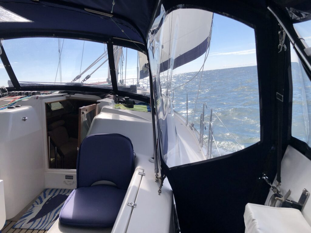 Sailing on the Chesapeake with new cockpit enclosure