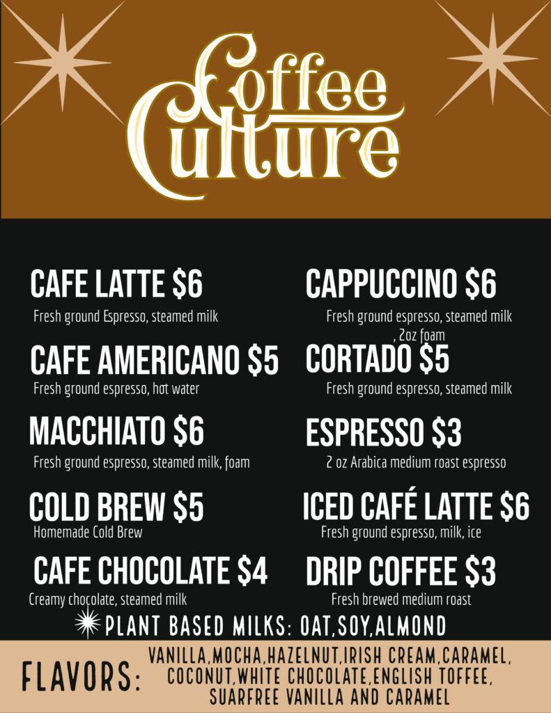 Coffee Culture Truck Menu