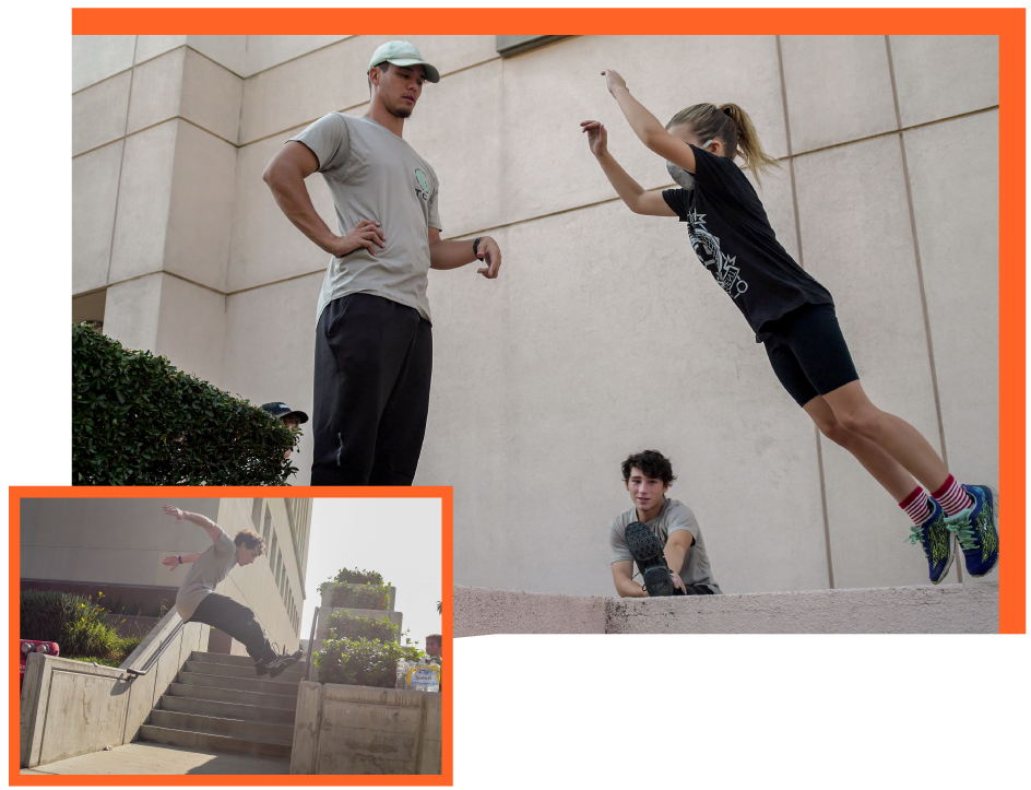 Parkour training the collective movements outside homeschool