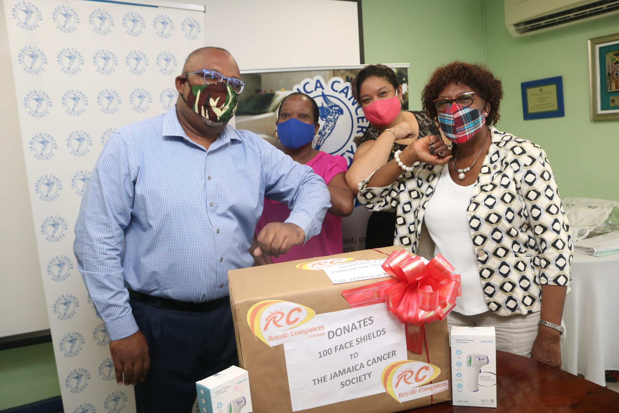 100 face shields and two infrared thermometers Donated