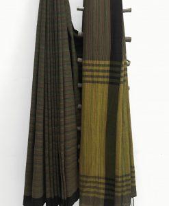 Seaweed green_Mustard Pallu_No contrast blouse