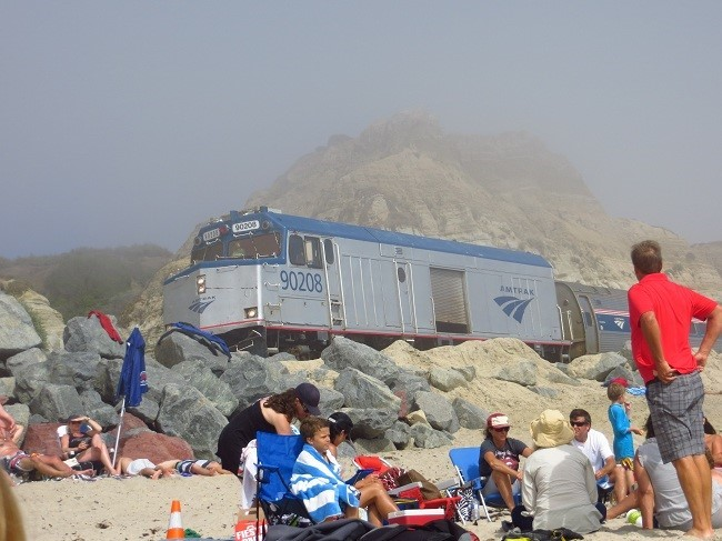 Big diesel thing on the sand. How cools it that?