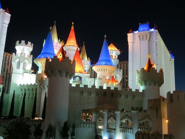 Heading back to the car, we pass by the Excalibur again. The castle does not look very defensible, It is lit up better than the airport, and doors are wide open