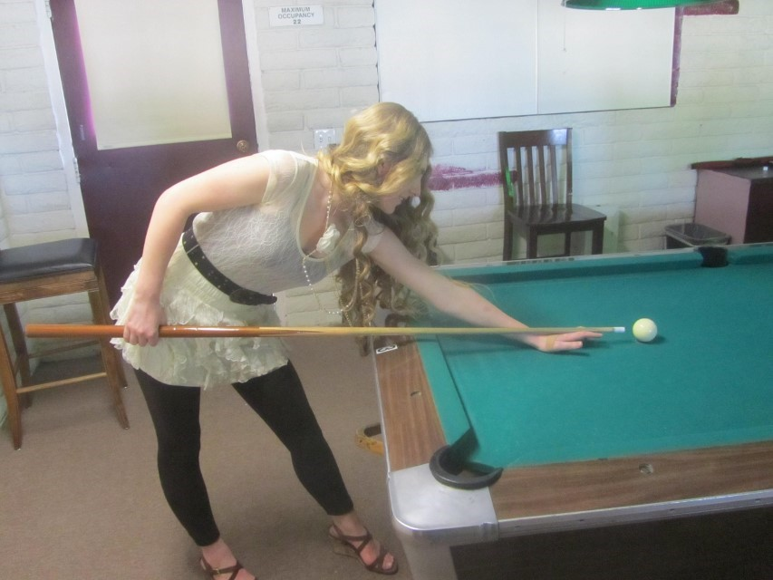 Holly like the comfort of this new dress, so she wears it to play pool.  (Thank you Jae for your very generous contribution to Holly's clothes fund. Yes, it did take her four months to find clothes she wanted to wear. Holly does not make decisions quickly. Holly is very grateful to you.)