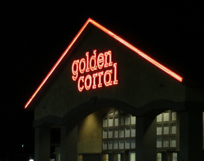 """We are now one fat and happy set of cowboy/cowgirl blimps! The Golden Corral is cowboy heaven! You get all you can eat """"steak"""" which taste wonderful. Don't ask me where it comes from, cause I aint ask'n! At $11.95 who cares! You can eat until the place closes or you explode which ever comes first.  Unless it is prime rib night then they charge $12.95 Good evening and Good Night……….."""